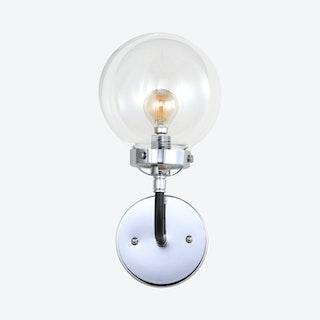 Caleb 1-Light Wall Sconce Lamp - Chrome / Black - Metal / Glass