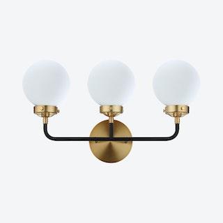 Caleb 3-Light Wall Sconce Lamp - Brass Gold / Black - Metal / Glass