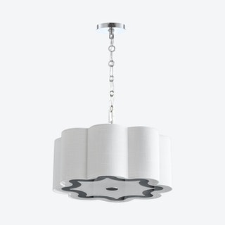 Coquille 4-Light Adjustable Scalloped Shade LED Pendant Lamp - Chrome / White - Metal