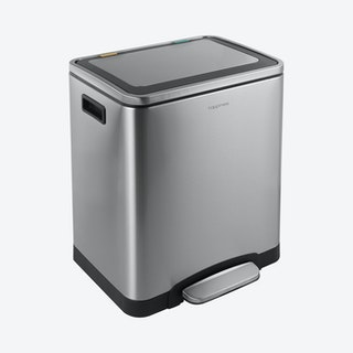 Elmo Rectangular Double Bucket Trash Can with Soft-Close Lid - Silver