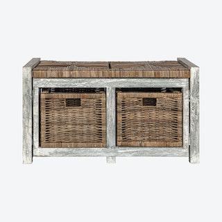 Rustic 2-Drawer Storage Bench - Grey - Wicker