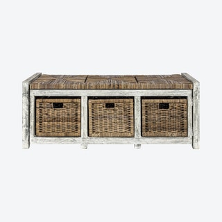 Rustic 3-Drawer Storage Bench - Grey - Wicker