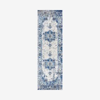 Modern Persian Boho Medallion Runner Rug - Cream / Blue