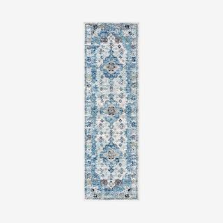 Modern Persian Boho Vintage Medallion Runner Rug - Cream / Blue
