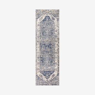 Modern Persian Boho Vintage Runner Rug - Cream / Blue