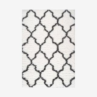 Marrakesh Trellis Shag Area Rug with Tassels - Ivory / Charcoal