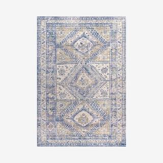 Darija Ornate Geometric Medallion Area Rug - Blue