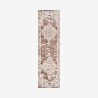 Alhambra Ornate Medallion Runner Rug - Brown / Cream