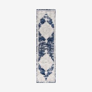Alhambra Ornate Medallion Runner Rug - Ivory / Navy