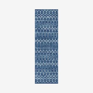 Moroccan Hype Boho Vintage Diamond Runner Rug - Blue / White