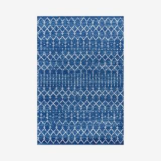 Moroccan Hype Boho Vintage Diamond Area Rug - Blue / White