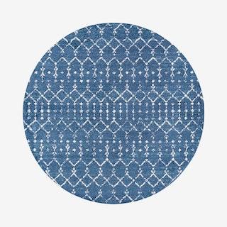 Moroccan Hype Boho Vintage Diamond Round Area Rug - Blue / White