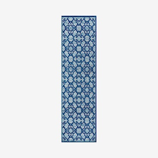Gallia Tile Trellis High-Low Indoor Outdoor Runner Rug - Light Gray / Blue