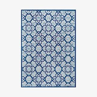Gallia Tile Trellis High-Low Indoor Outdoor Area Rug - Light Gray / Blue