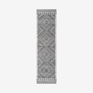 Amir Moroccan Beni Souk Runner Rug - Grey / Cream