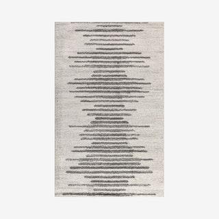 Aya Berber Stripe Geometric Area Rug - Cream / Grey