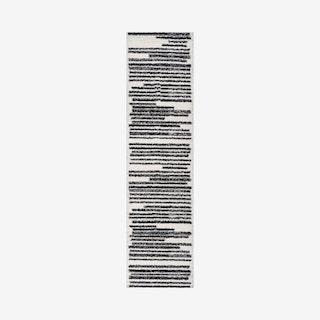 Khalil Modern Berber Stripe Runner Rug - Cream / Black