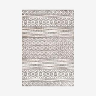 Ifrane Berber Geometric Stripe Area Rug - Grey / Cream