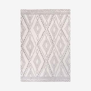 Rih Moroccan Style Diamond Area Rug - Ivory / Grey