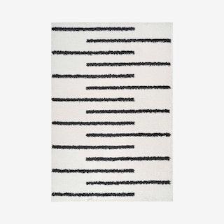 Alaro Berber Stripe Shag Area Rug - White / Black