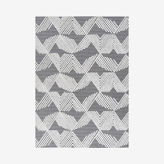 Jazz Art Deco Geometric Indoor/Outdoor Area Rug - Black / Ivory