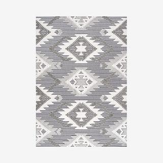 Sumak Neutral Diamond Kilim Indoor/Outdoor Area Rug - Grey / White / Black