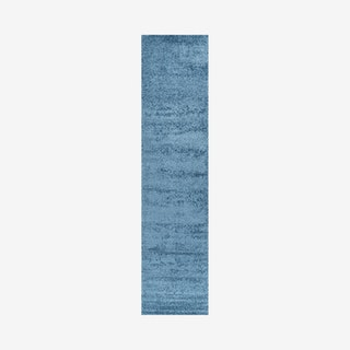 Haze Solid Low-Pile Runner Rug - Turquoise