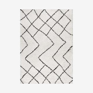 Inca Moroccan Diamond Shag Area Rug - Beige / Dark Grey
