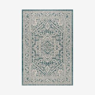 Sinjuri Medallion Textured Weave Indoor/Outdoor Area Rug - Teal Blue / Grey