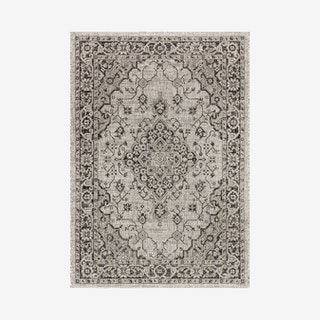 Rozetta Boho Medallion Textured Weave Indoor / Outdoor Area Rug - Grey / Black