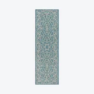 Charleston Vintage Filigree Textured Weave Indoor / Outdoor Runner Rug - Teal / Grey