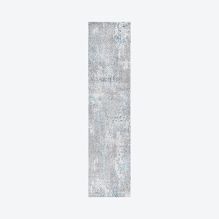 Timeworn Modern Abstract Runner Rug - Grey / Turquoise