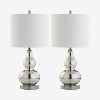 Anya Mini Table Lamps - Mercury Silver - Glass - Set of 2