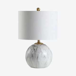 Luna LED Table Lamp - White / Brass Gold - Faux Marble / Resin