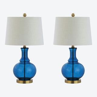 Lavelle LED Table Lamps - Cobalt Blue / Brass Gold - Glass - Set of 2