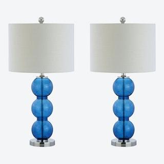 Bella Triple-Sphere LED Table Lamps - Cobalt Blue / Chrome - Glass - Set of 2