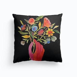 Nosegay Black Canvas Cushion