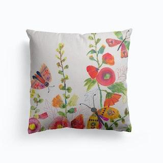Hollyhocks And Butterflies Canvas Cushion