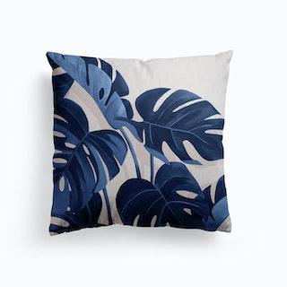 Monstera Blue Canvas Cushion