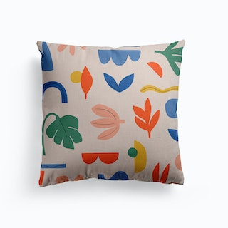 Abstract Leaves Bright Canvas Cushion