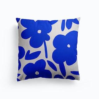 Daisies Blue Canvas Cushion