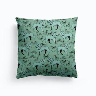 Lion Green Canvas Cushion