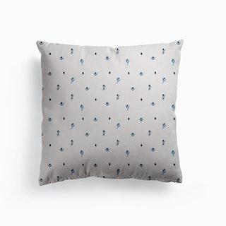 Tiny Blue Flowers Canvas Cushion