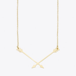Short Hunter's Arrow Necklace in Gold