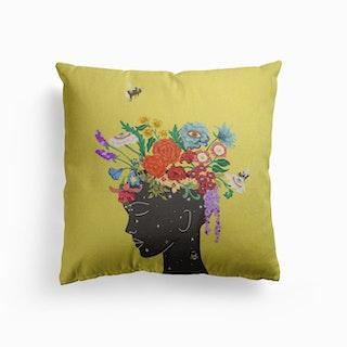 Flourish In Yellow Canvas Cushion