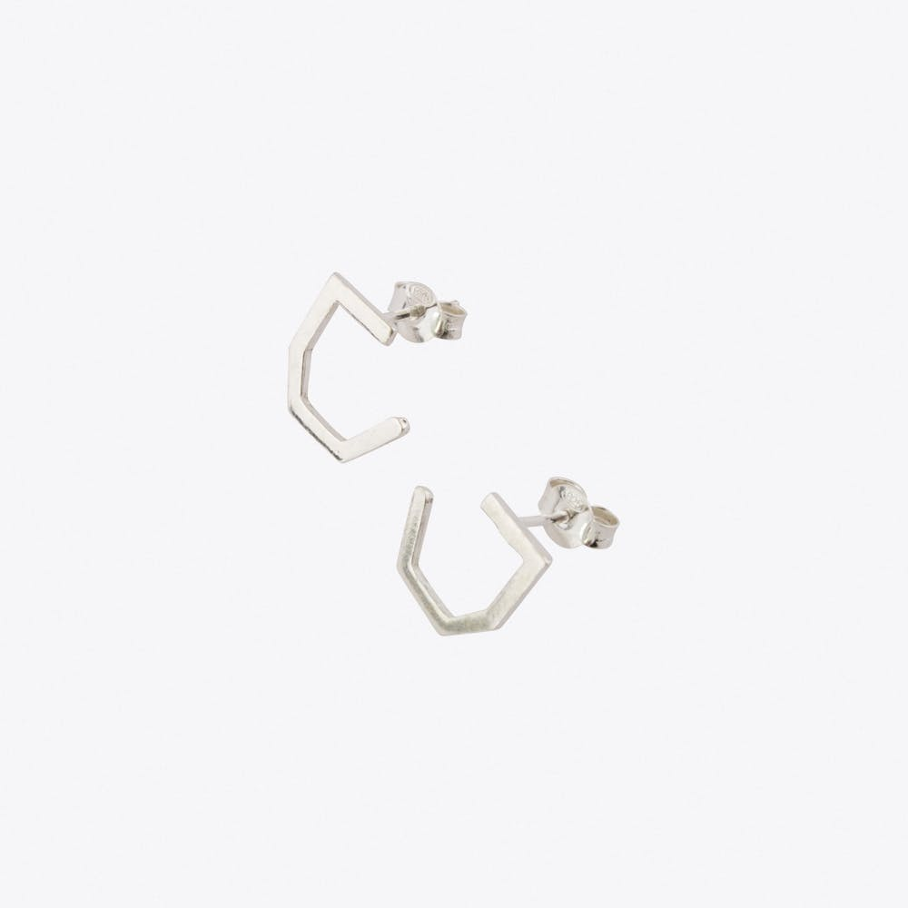 Tiny Octagon Earrings in Silver