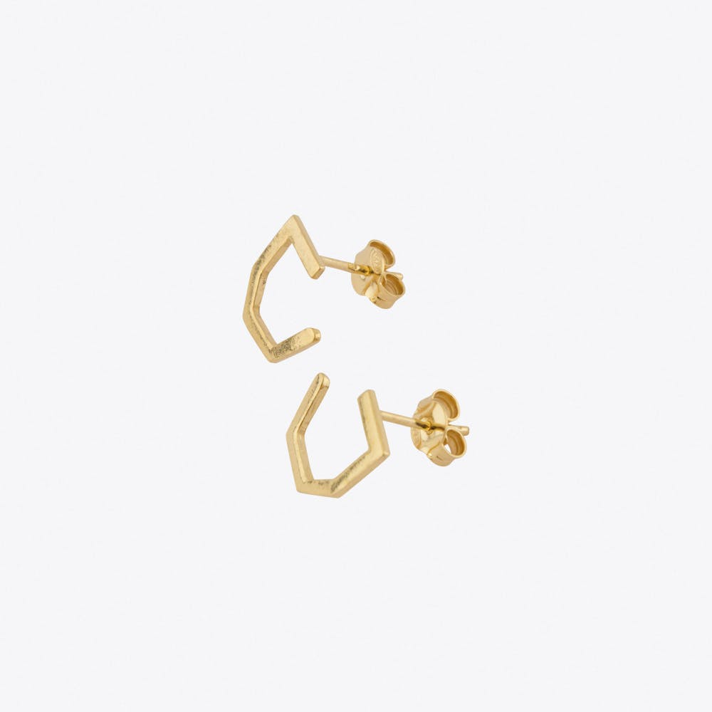 Tiny Octagon Earrings in Gold