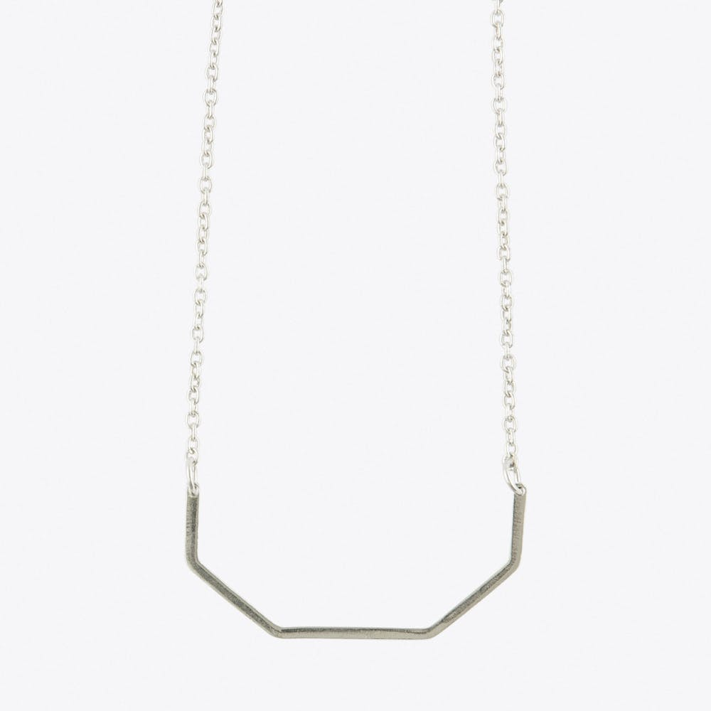 Half Irregular Octagon Necklace in Silver