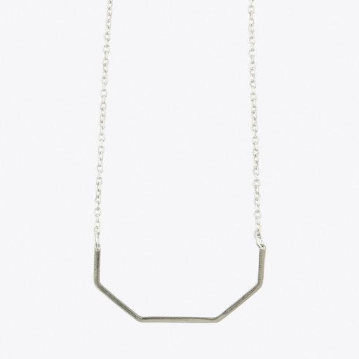Half Irregular Octagon Necklace in Silver