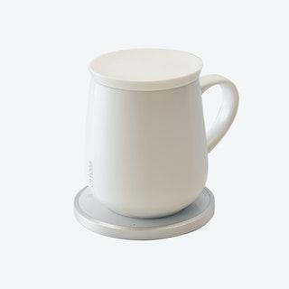 Ui Mug & Heater / Wireless Charger Set - Jasmine White